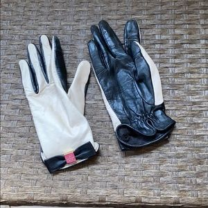 Kate Spade leather gloves with bow detail